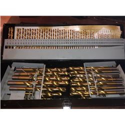 GOLD COATED LARGE ASSORTED DRILL BITS WITH CASE
