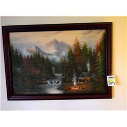 """SIGNED OIL ON CANVAS BY """"KRAMER"""" BEAUTIFUL SCENE DEPICTING CABIN/STREAM/MOUNTAIN VIEWS"""