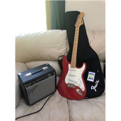 ELECTRIC SIGNED FENDER GUITAR AND SQUIER AMPLIFIER/RED & WHITE WITH CASE