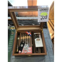 CIGAR HUMIDOR w CIGARS AND CUTTERS