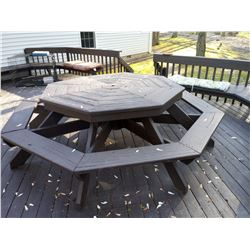 LARGE WOODEN OCTAGONAL PICNIC BENCH