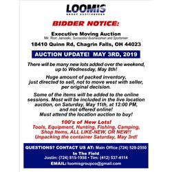 AUCTION UPDATE!  MAY 3RD, 2019