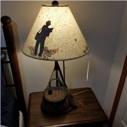 TABLE LAMP DEPICTING FLY FISHING.