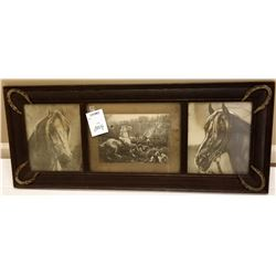 ANTIQUE BLACK AND WHITE HORSE PORTRAITS, TRIPLE FRAMED