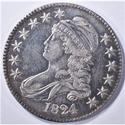 1824 BUST HALF DOLLAR, AU