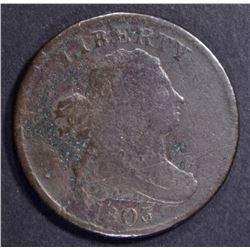 1803 HALF CENT, VG some porosity