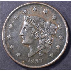 1837 LARGE CENT, XF/AU