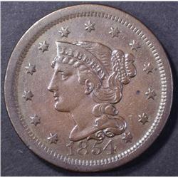 1854 LARGE CENT, XF/AU
