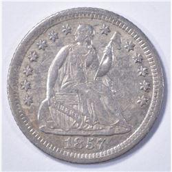 1857-O SEATED HALF DIME, AU KEY DATE