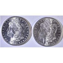 (2) 1881-S MORGAN DOLLARS CH BU