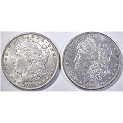 1887 & 1900 MORGAN SILVER DOLLARS, CH BU