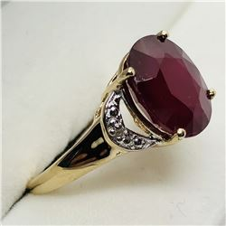 GOLD PLATED SILVER RUBY & DIAMOND RING