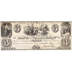 1836 $3 BANK OF WASHTENAW, MI  CH CU
