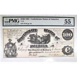 1861 $100 CONFEDERATE STATES OF AMERICA PMG 55