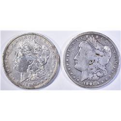 1896-O XF/AU & 1901-O FINE MORGAN DOLLARS