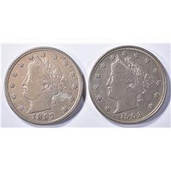 1903 AU & 1897 XF LIBERTY NICKELS