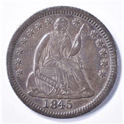 1845 SEATED HALF DIME, XF/AU