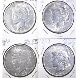 1922-D,S & 23-D,S PEACE DOLLARS AU/BU