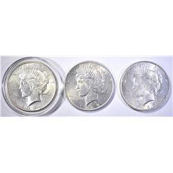 3 BU PEACE DOLLARS 2 1925& 1923