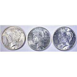 3 1925 PEACE DOLLARS BU