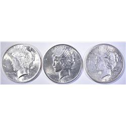 3 PEACE DOLLARS AU-BU