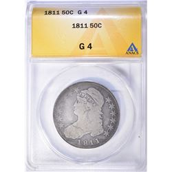 1811 BUST HALF DOLLAR, ANACS GOOD-4