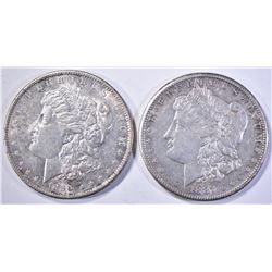 1887-S & 90-S MORGAN DOLLARS, AU/BU