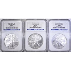 3-2010 SILVER EAGLES, NGC MS-69 EARLY RELEASES