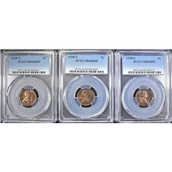 (3) 1938-S LINCOLN CENTS  PCGS  MS-66 RD