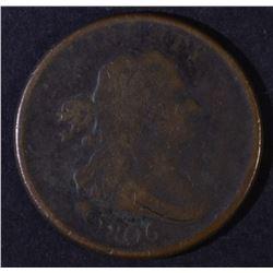 1806 DRAPED BUST HALF CENT VF