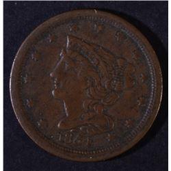 1854 BRAIDED HAIR HALF CENT  XF