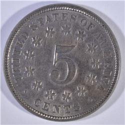 1873 OPEN 3 SHIELD NICKEL AU