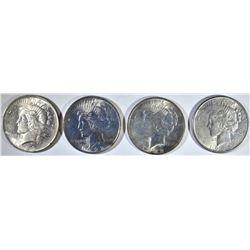 (4) CH BU PEACE DOLLARS: 2-1922, 1923,