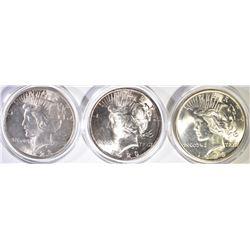 (3) 1923 PEACE DOLLARS CH BU +