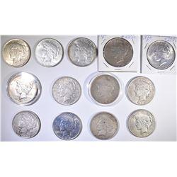 (13) CIRC PEACE DOLLARS: 3-1922, 1922-D,