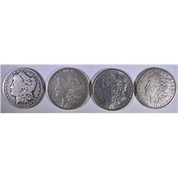 (4 MORGAN DOLLARS: 1894-O VG, 1898 AU,