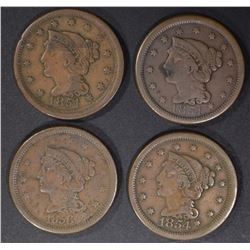 LARGE CENTS (2) 1851 XF, 1854 VF/XF, 1856 VF/XF