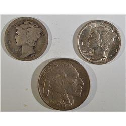 (3) COINS: 1921 MERCURY DIME,