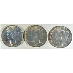 1922-D, 23, 24 PEACE DOLLAR BU