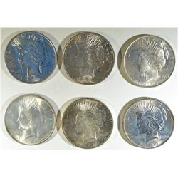 (5) 1922  AND 1922-D PEACE DOLLARS BU