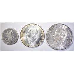 (3) 1876 25 CENTAVOS MEXICO, 1955 5 PESOS