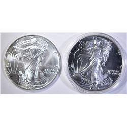 1989 & 1993 BU AMERICAN SILVER EAGLES