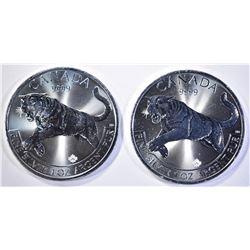 2-BU 2016 CANADA COUGAR 1oz SILVER $2 COINS