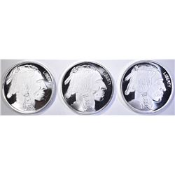3-BUFFALO/INDIAN ONE OUNCE .999 SILVER ROUNDS