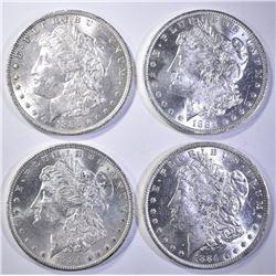 4-CH BU 1884-O MORGAN DOLLARS