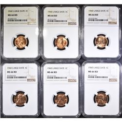 (6) LARGE DATE NGC MS 66 RD LINCOLN CENTS