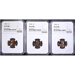 (3) 1958 LINCOLN CENTS NGC PF-67 RED