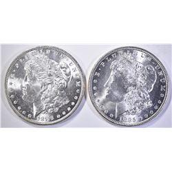 1885 & 1886 MORGAN DOLLARS, CH BU+ NICE!!