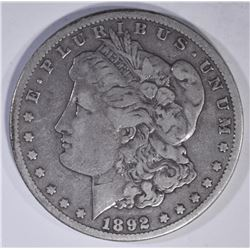 1892-CC MORGAN DOLLAR  VF