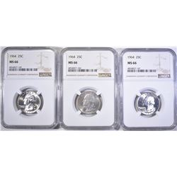3-1964 WASHINGTON QUARTERS, NGC MS-66